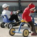 Wedstrijd op driewielers